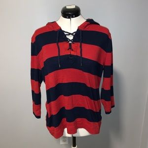Lauren Jeans Co LRL Red/Blue Nautical Hoodie, XL